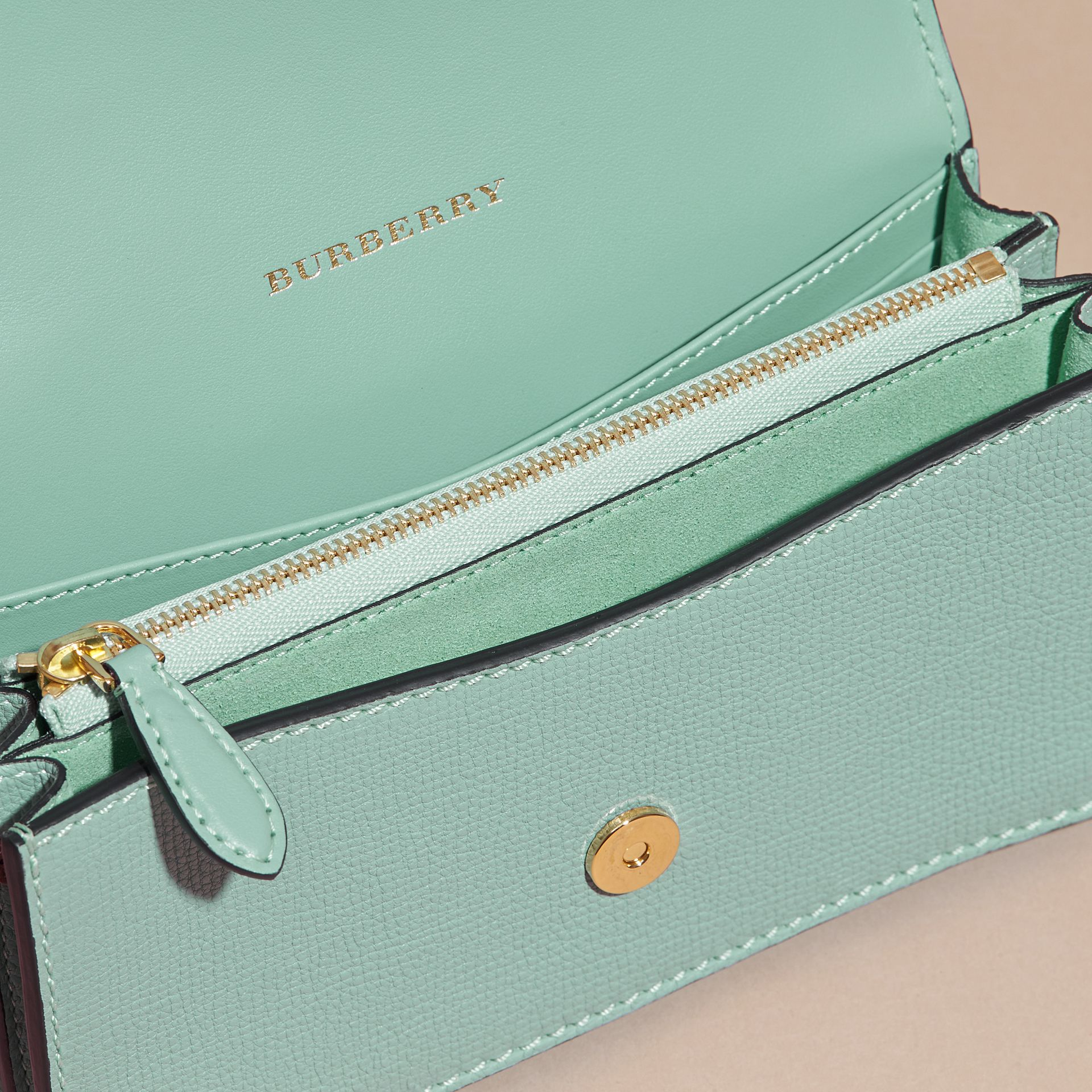 The Small Buckle Bag in Peony Rose Print Leather in Pale Opal/vibrant Orange - gallery image 6