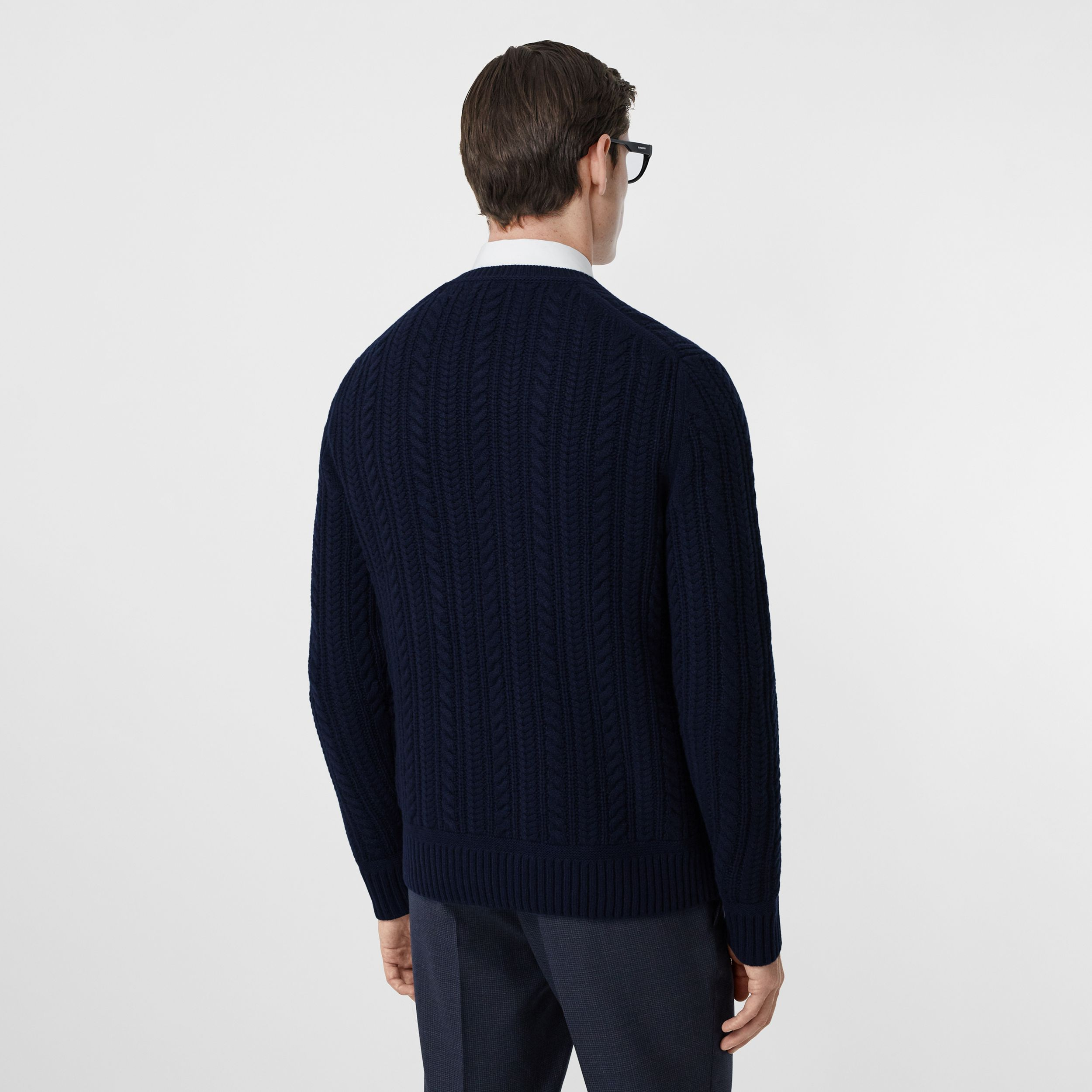 Cable Knit Cashmere Sweater in Navy - Men | Burberry - 3