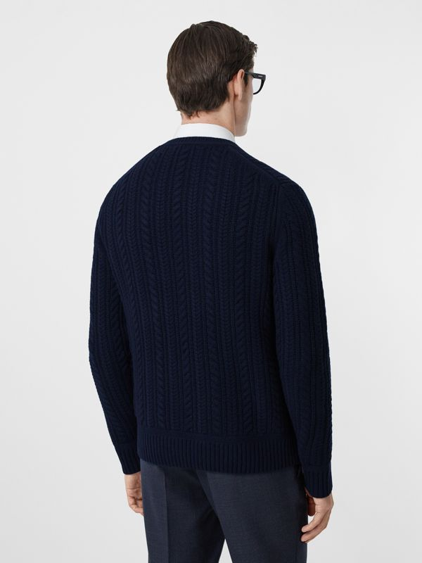 Cable Knit Cashmere Sweater in Navy - Men | Burberry - cell image 2