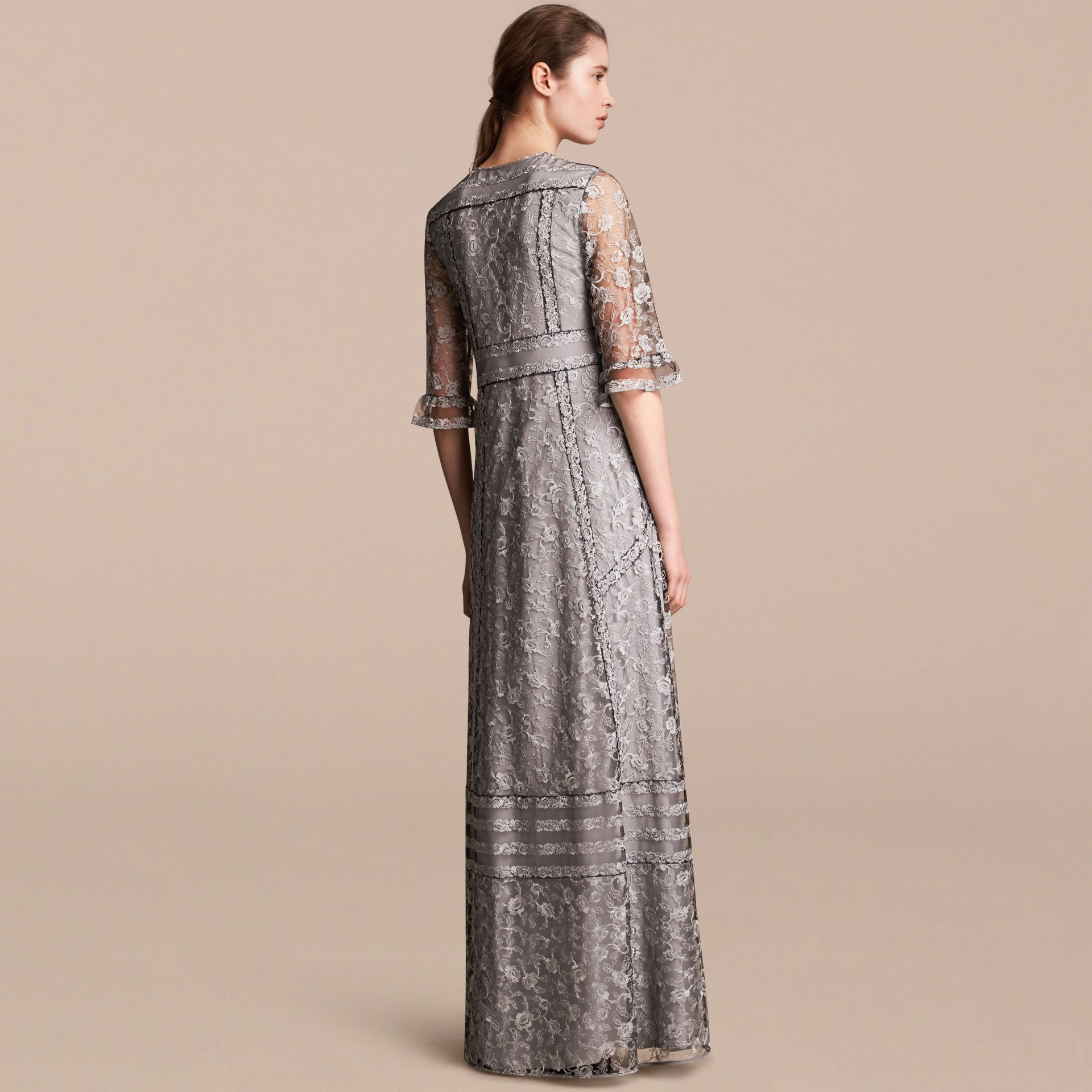 Floral Lace Tulle Dress in Silver - Women | Burberry - gallery image 3