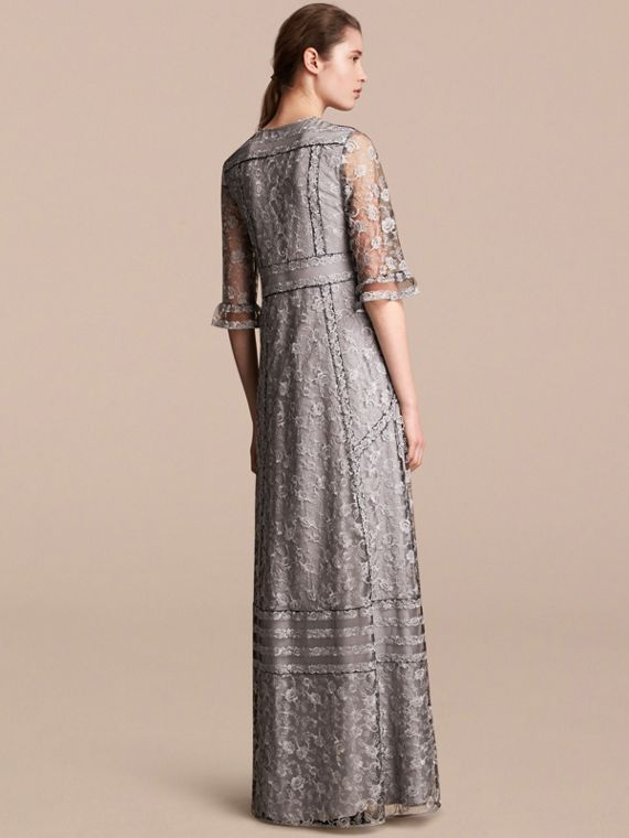 Floral Lace Tulle Dress in Silver - Women | Burberry - cell image 2