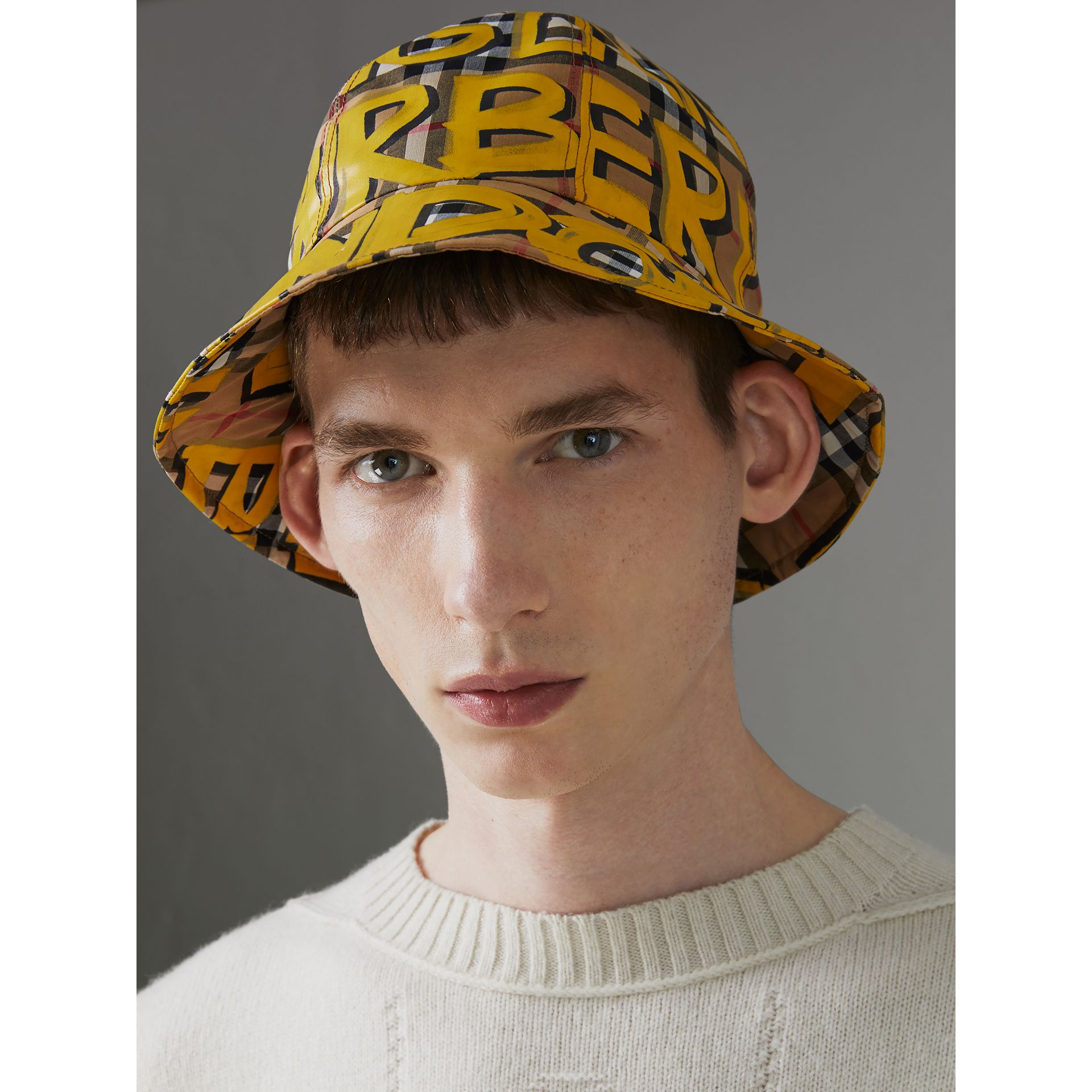 Graffiti Print Vintage Check Bucket Hat in Bright Yellow/antique Yellow | Burberry Canada - gallery image 2