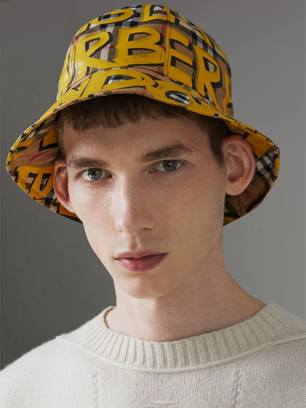 Graffiti Print Vintage Check Bucket Hat in Bright Yellow/antique Yellow | Burberry Canada - cell image 2