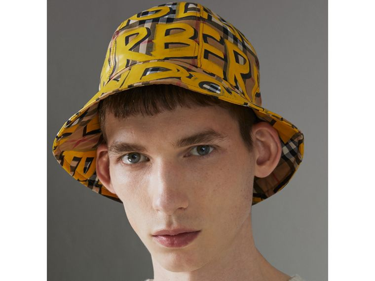 Graffiti Print Vintage Check Bucket Hat in Bright Yellow/antique Yellow | Burberry - cell image 2