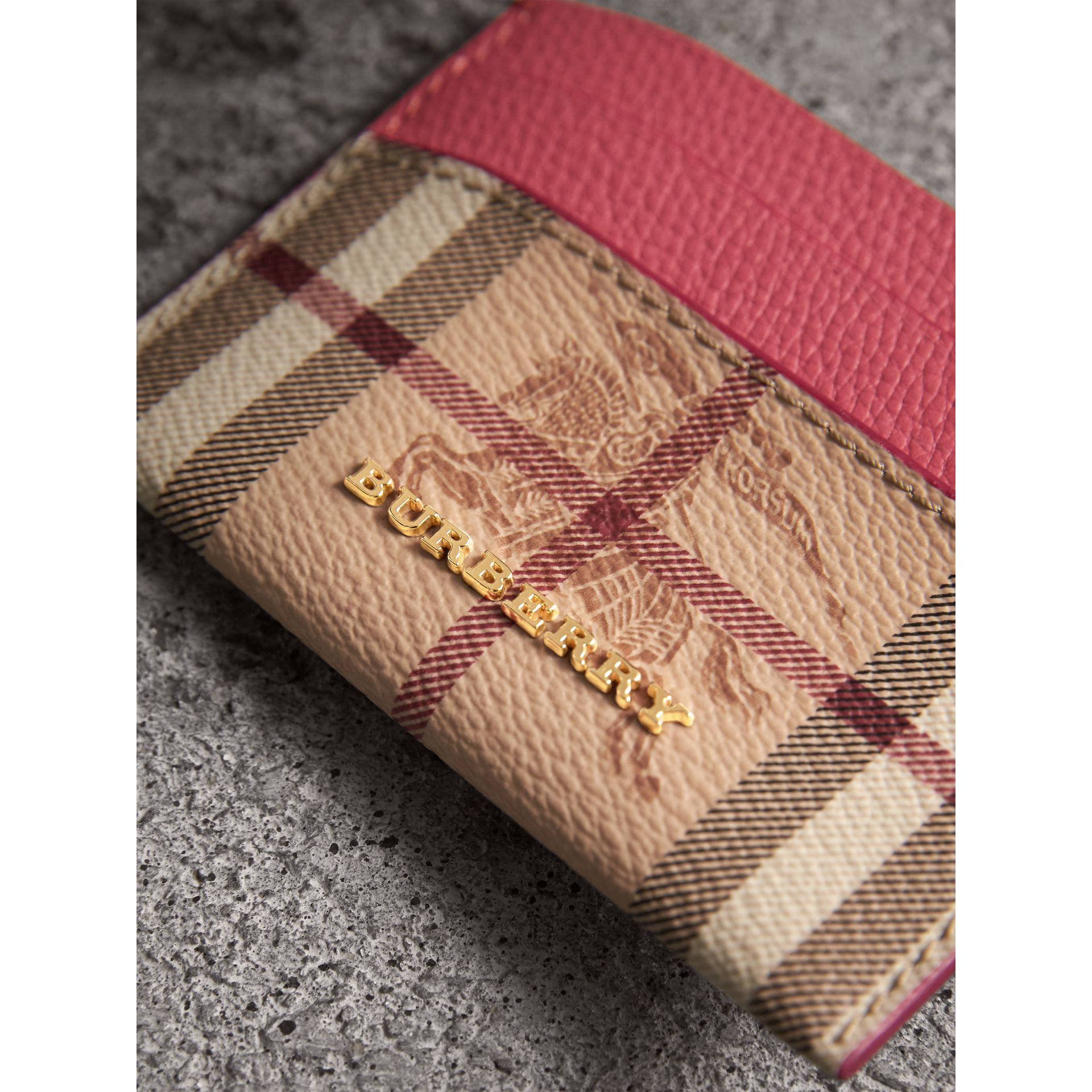 Haymarket Check and Leather Card Case in Plum Pink - Women | Burberry United States - gallery image 1