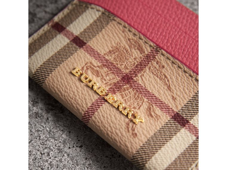 Haymarket Check and Leather Card Case in Plum Pink - Women | Burberry United Kingdom - cell image 1