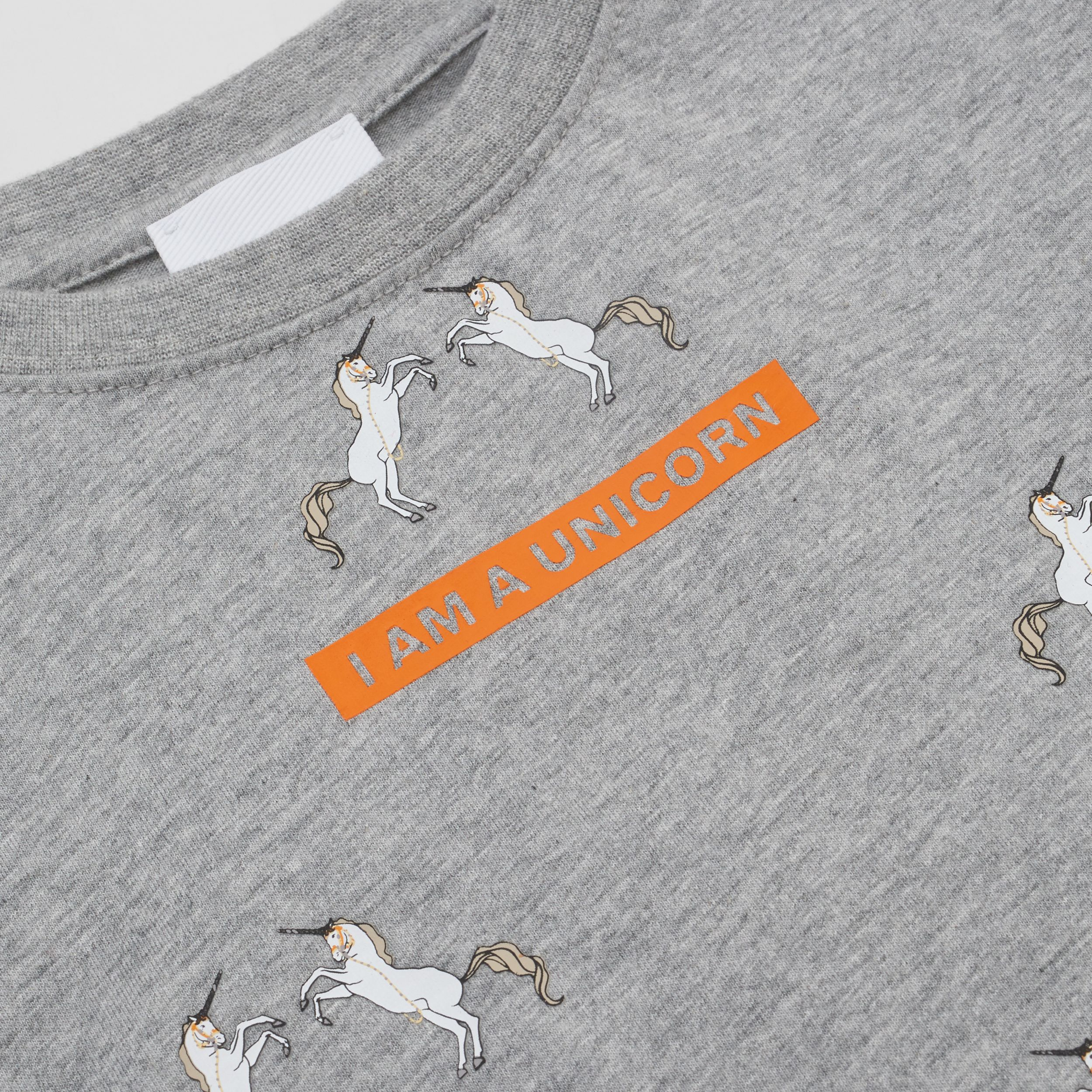 Unicorn Slogan Print Cotton T-shirt in Grey Melange | Burberry - 2