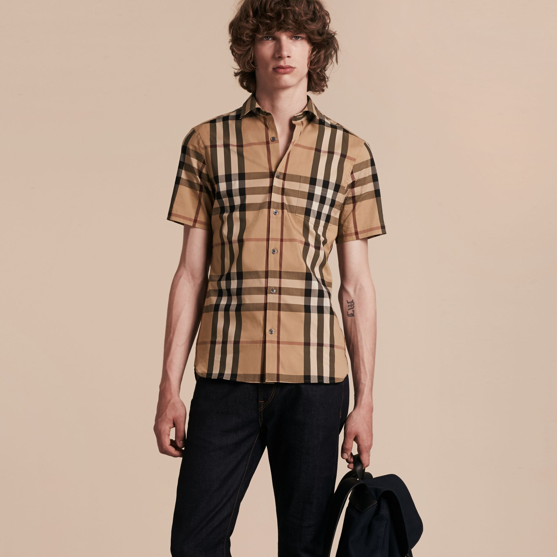Short-sleeved Check Stretch Cotton Shirt Camel - gallery image 6