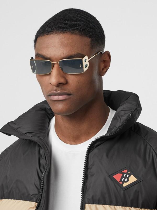 'B' Lens Detail Rectangular Frame Sunglasses in Tortoiseshell | Burberry - cell image 3