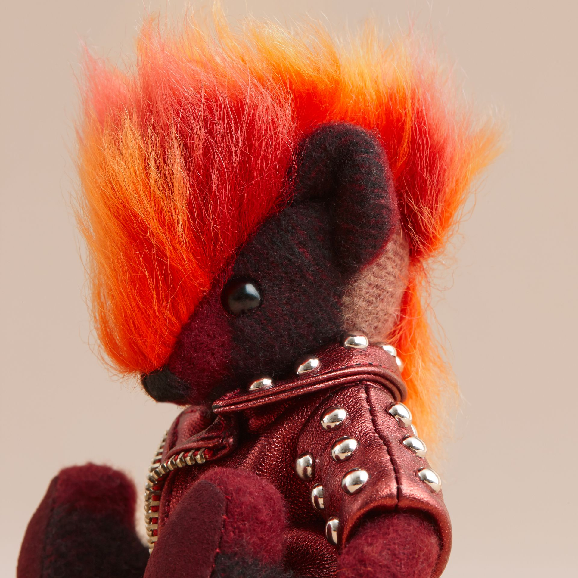 The Punk Thomas Bear Charm in Studded Lambskin Claret - gallery image 2