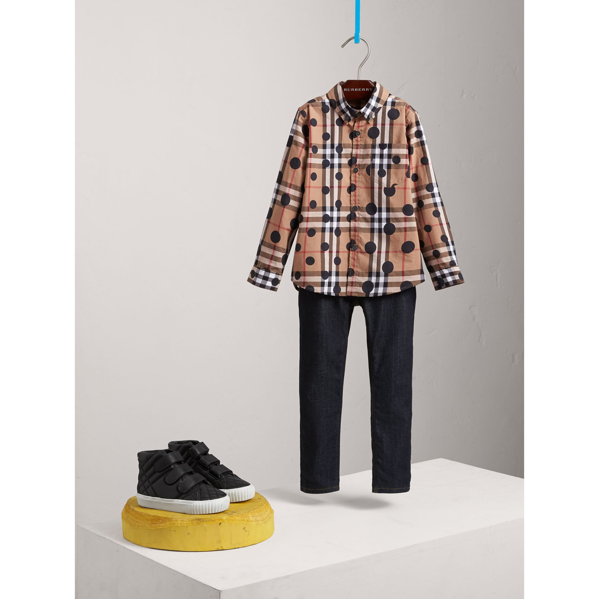Polka-dot Check Cotton Shirt in Navy - Boy | Burberry - gallery image 1
