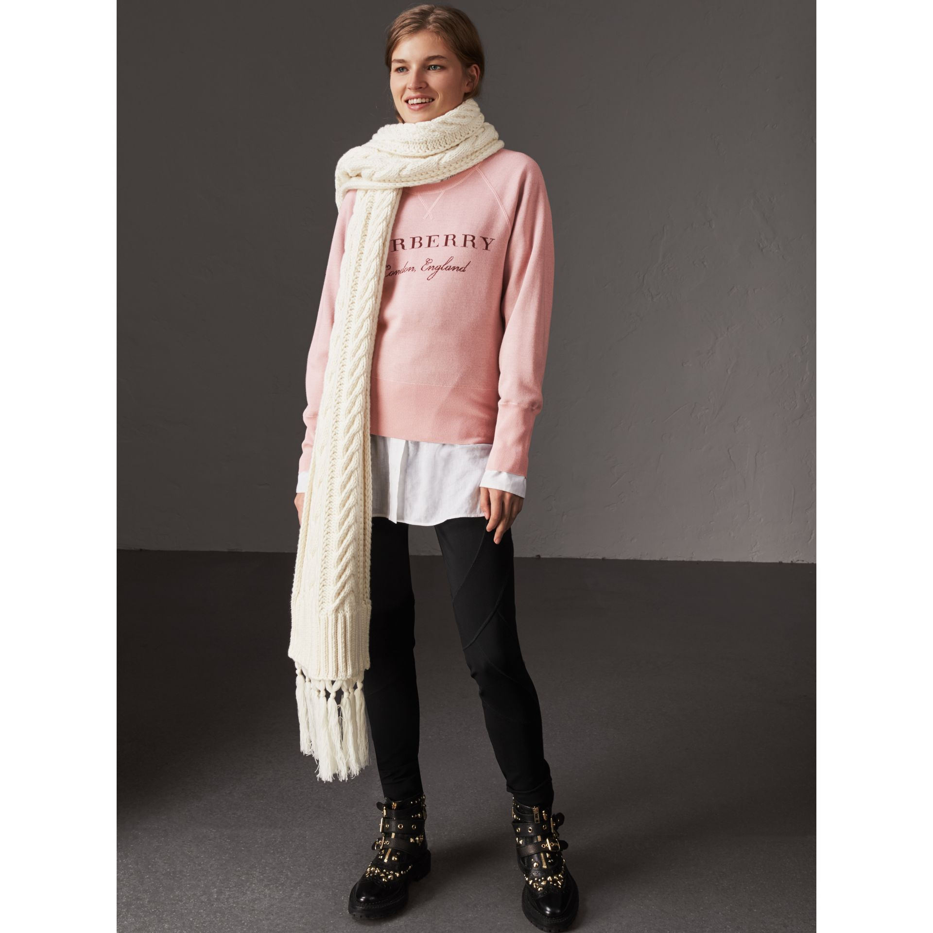Lightweight Merino Wool Silk Sweater in Ash Rose - Women | Burberry - gallery image 5