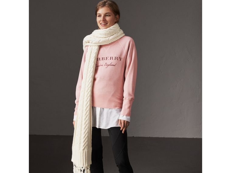 Lightweight Merino Wool Silk Sweater in Ash Rose - Women | Burberry - cell image 4