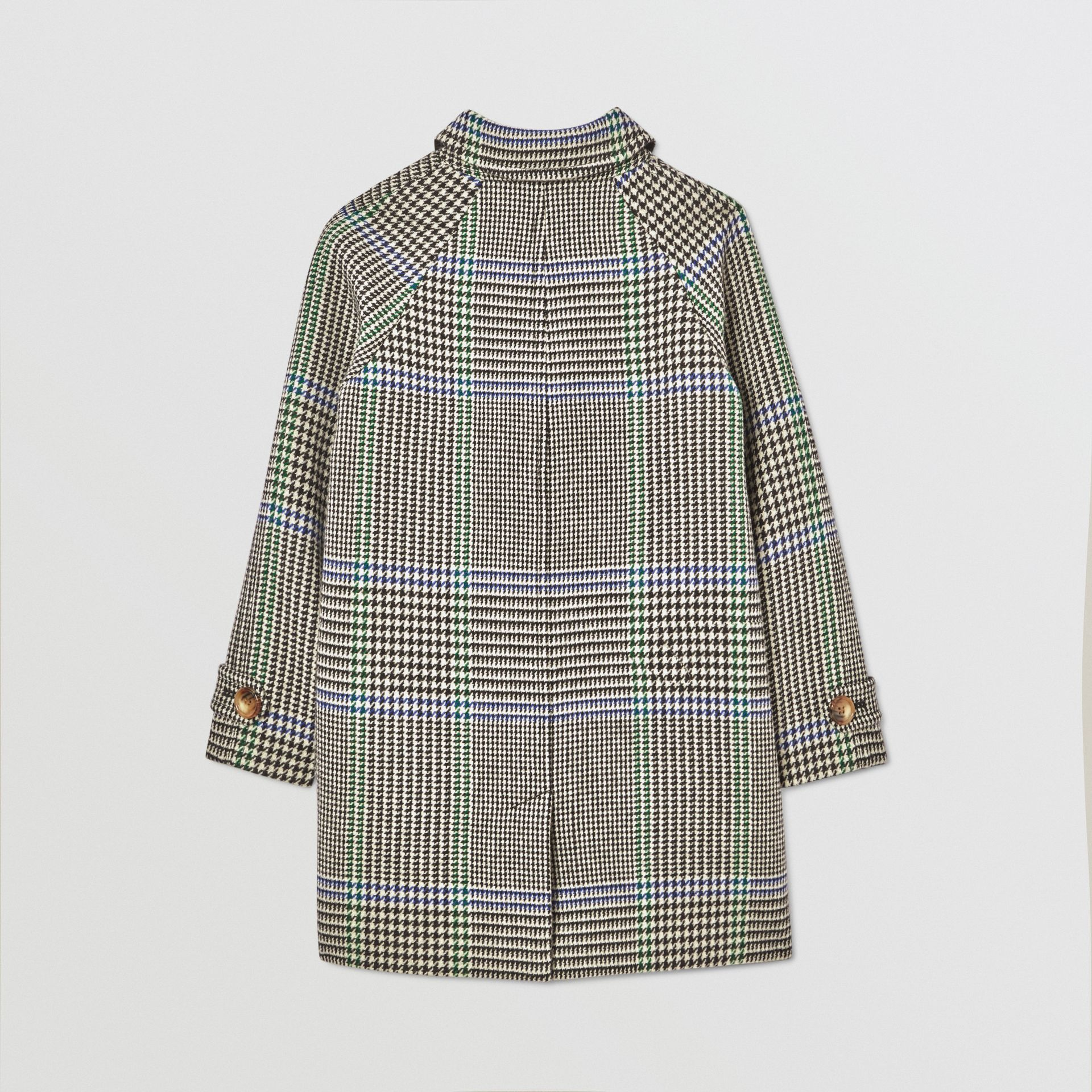 Houndstooth Check Wool Blend Car Coat in Clover Green | Burberry Hong Kong S.A.R - gallery image 3