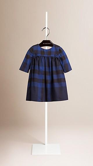 Bow Detail Check Cotton Dress