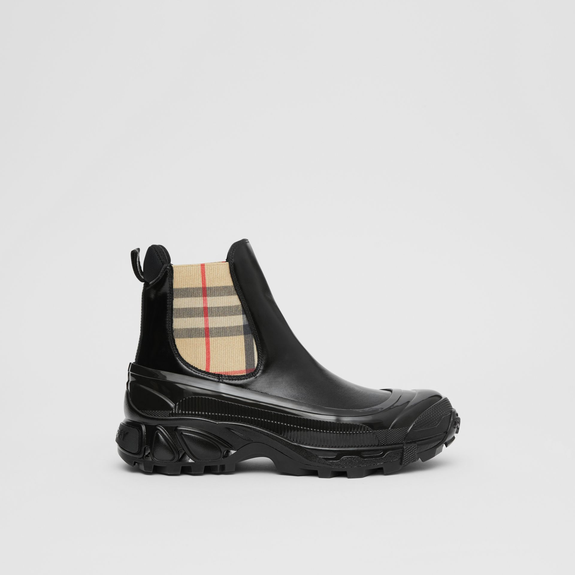 Vintage Check Detail Coated Canvas Chelsea Boots in Black/archive Beige - Women | Burberry Hong Kong S.A.R - gallery image 5