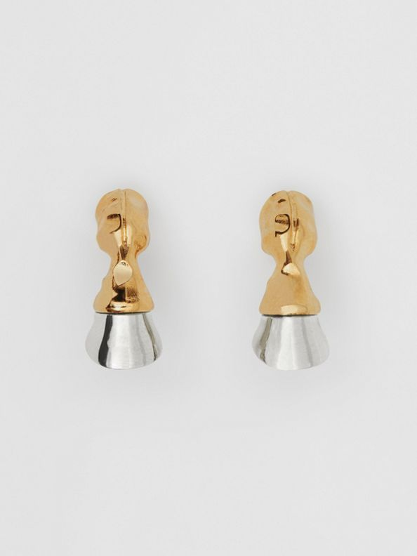 Gold and Palladium-plated Hoof Earrings in Palladio/light