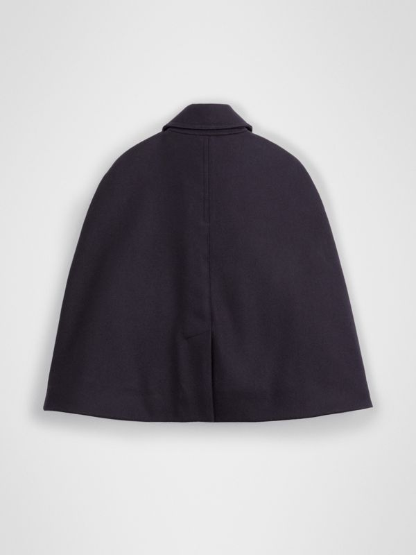 Wool Pea Coat Cape in Navy | Burberry - cell image 3