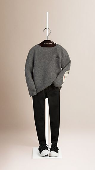 Check Elbow Patch Cashmere Sweater