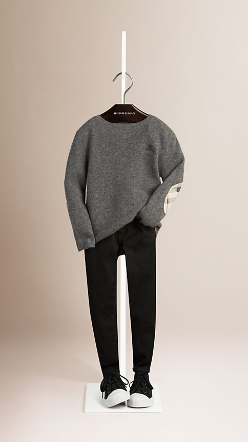 Mid grey melange Check Elbow Patch Cashmere Sweater - Image 1