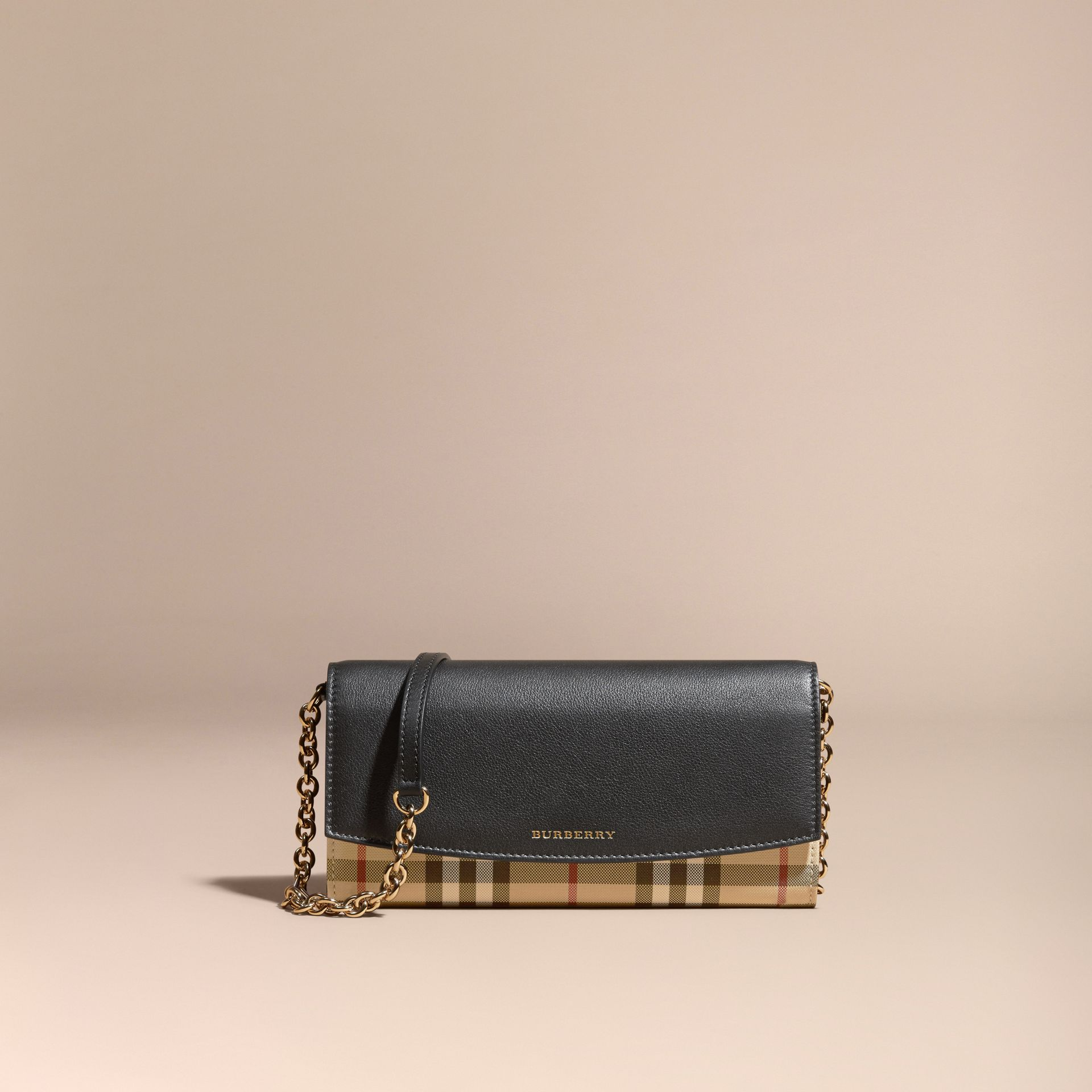 Horseferry Check and Leather Wallet with Chain in Black - Women | Burberry - gallery image 7
