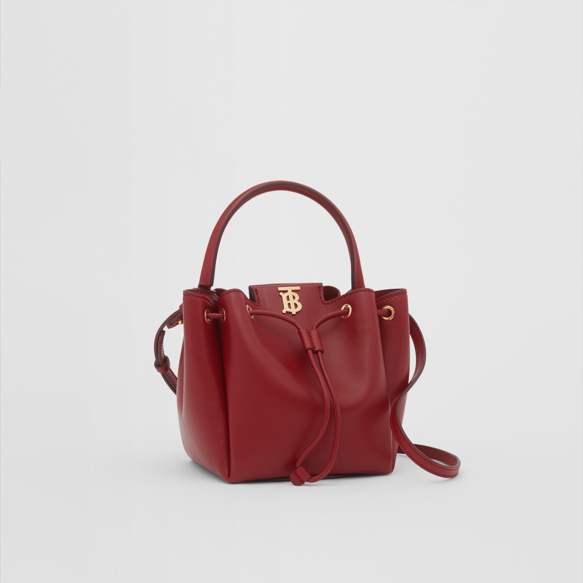 Monogram Motif Leather Bucket Bag in Dark Carmine - Women | Burberry United States - gallery image 4
