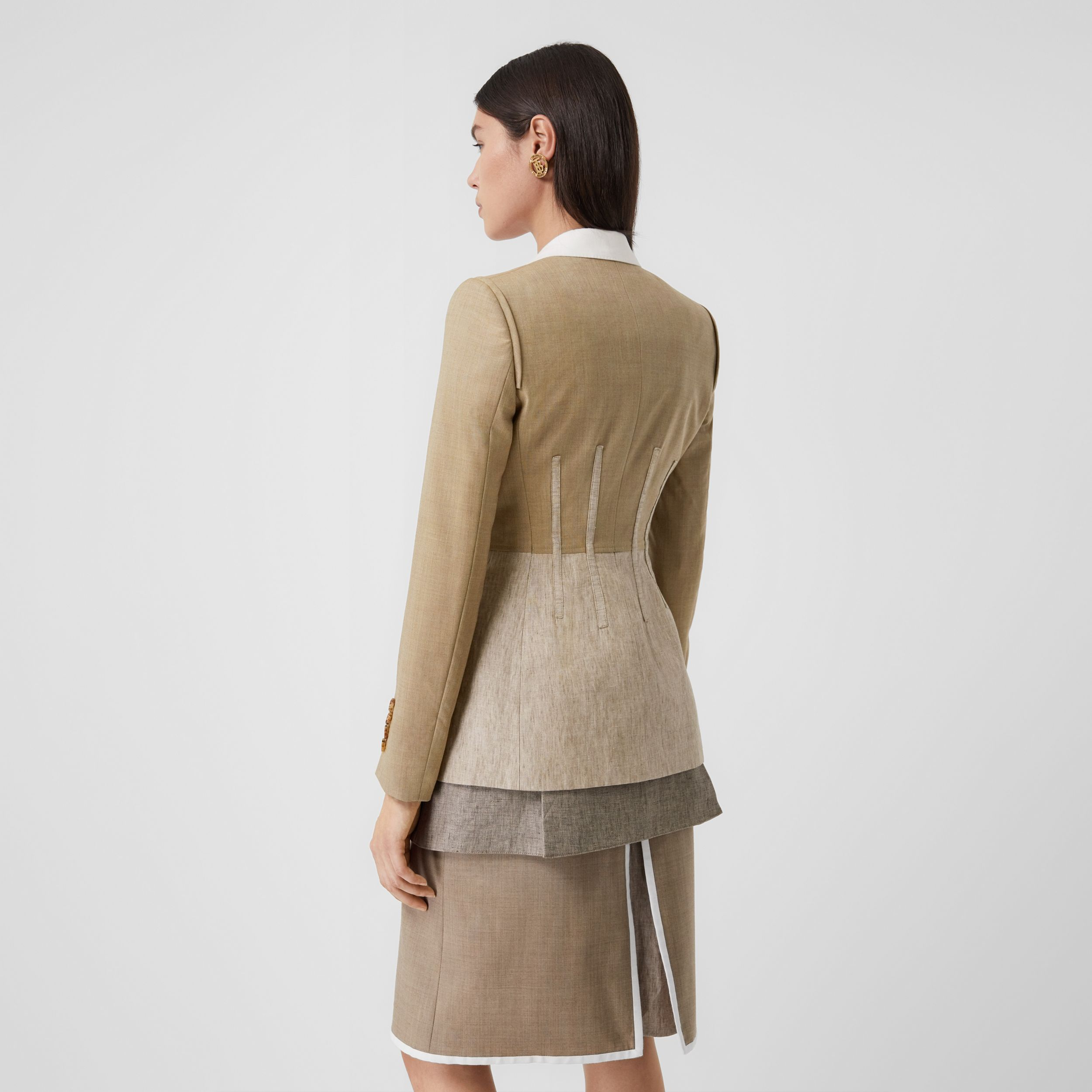 Contrast Seam Wool Cashmere and Linen Blazer in Pecan Melange - Women | Burberry - 3