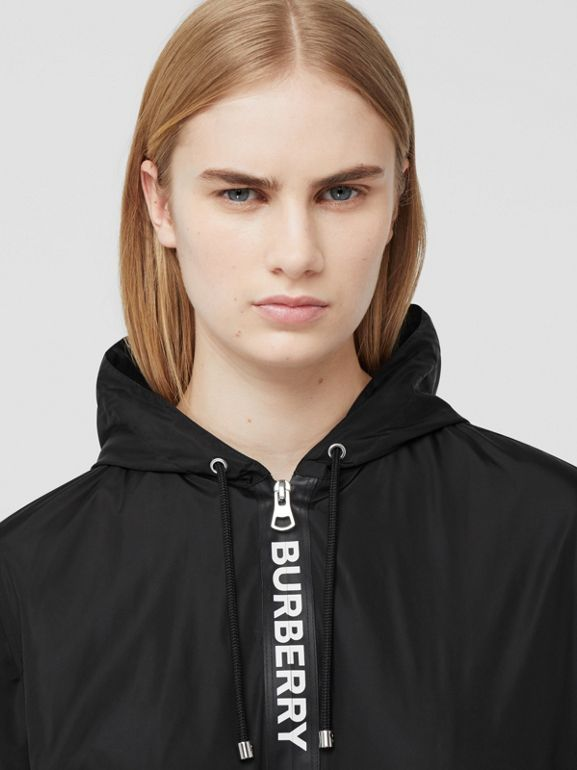 Logo Tape ECONYL® Hooded Jacket in Black - Women | Burberry - cell image 1