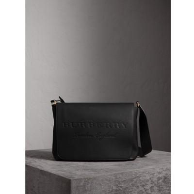 BURBERRY Große Messenger-Tasche Aus Leder Mit Geprägtem Schriftzug, Black