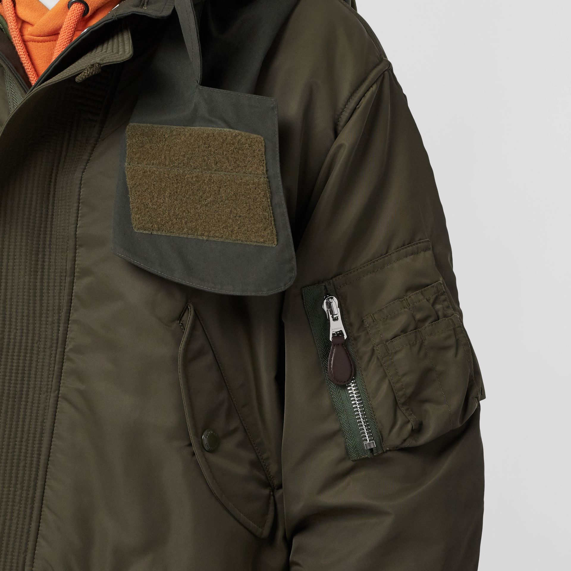 Nylon Hooded Parka with Detachable Warmer in Olive - Men | Burberry - gallery image 4