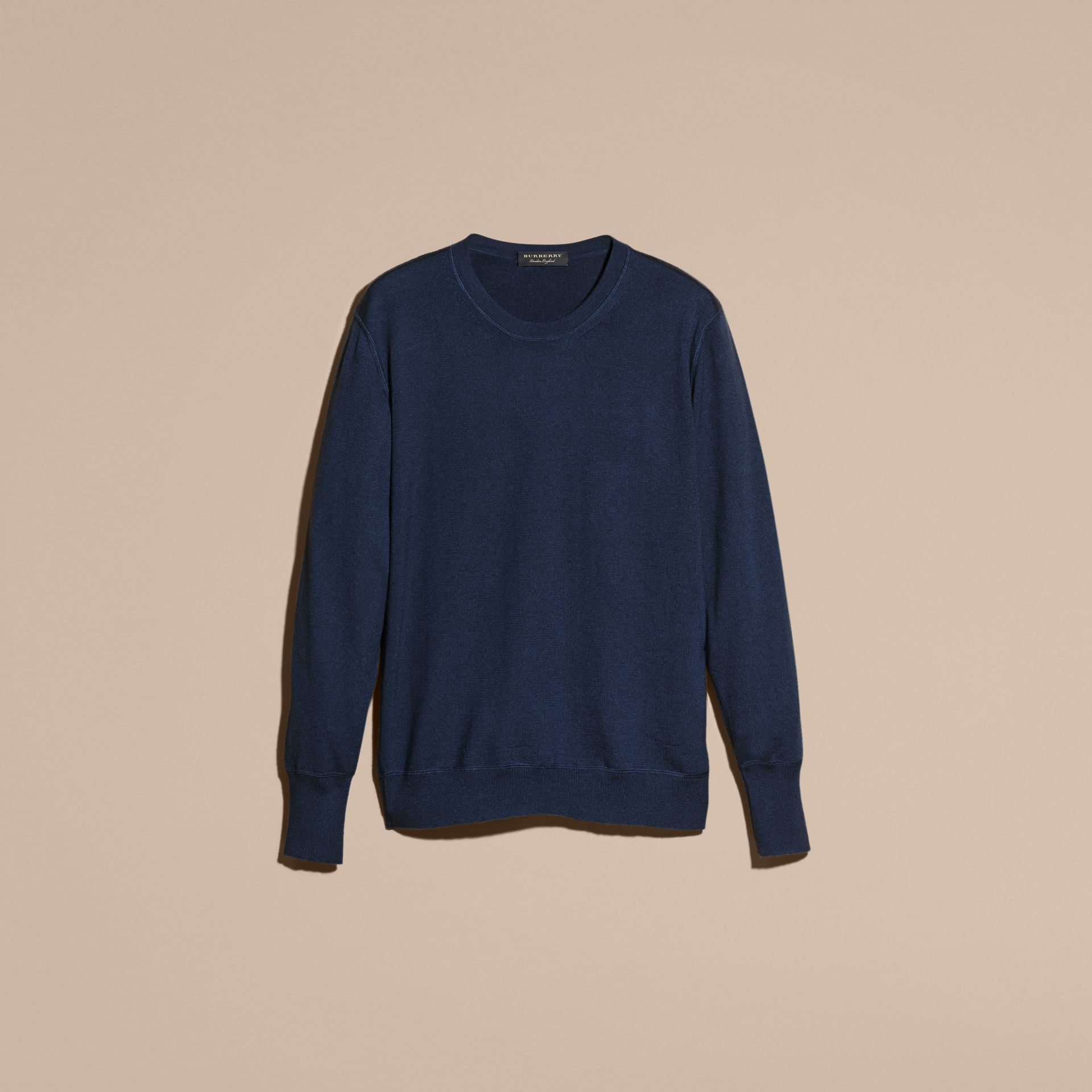 Slate blue Crew Neck Cashmere Sweater Slate Blue - gallery image 4