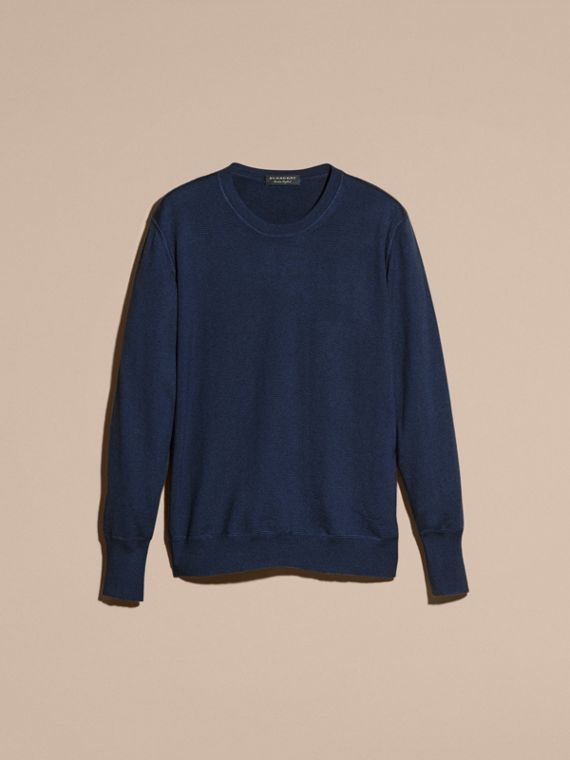 Crew Neck Cashmere Sweater in Slate Blue - cell image 3
