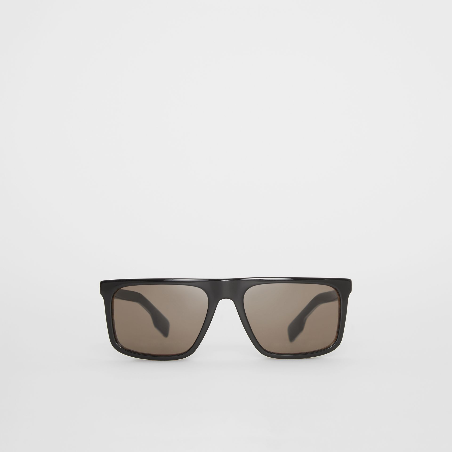 Vintage Check Detail Straight-brow Sunglasses in Antique Yellow - Men | Burberry Australia - gallery image 0