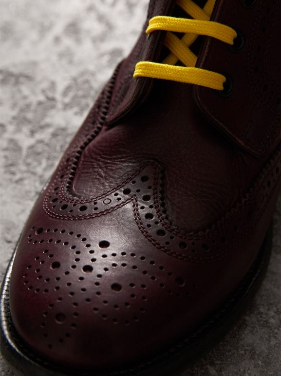 Leather Brogue Boots with Bright Laces in Cerise Purple - Men | Burberry - cell image 1