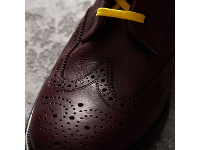 Leather Brogue Boots with Bright Laces in Cerise Purple - Men | Burberry Australia - cell image 1