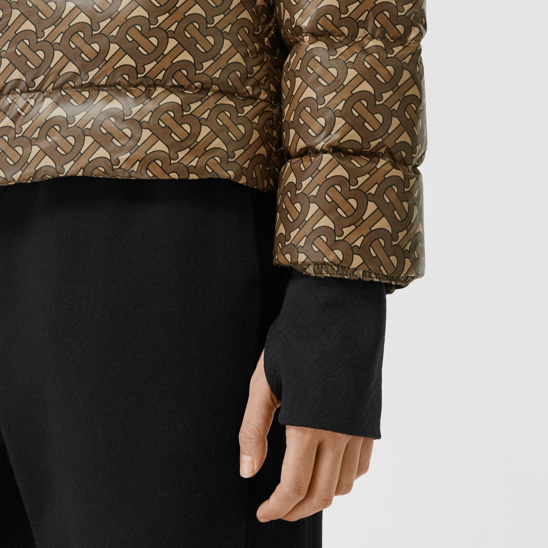 Monogram Print Nylon Puffer Jacket in Bridle Brown - Women | Burberry - gallery image 4