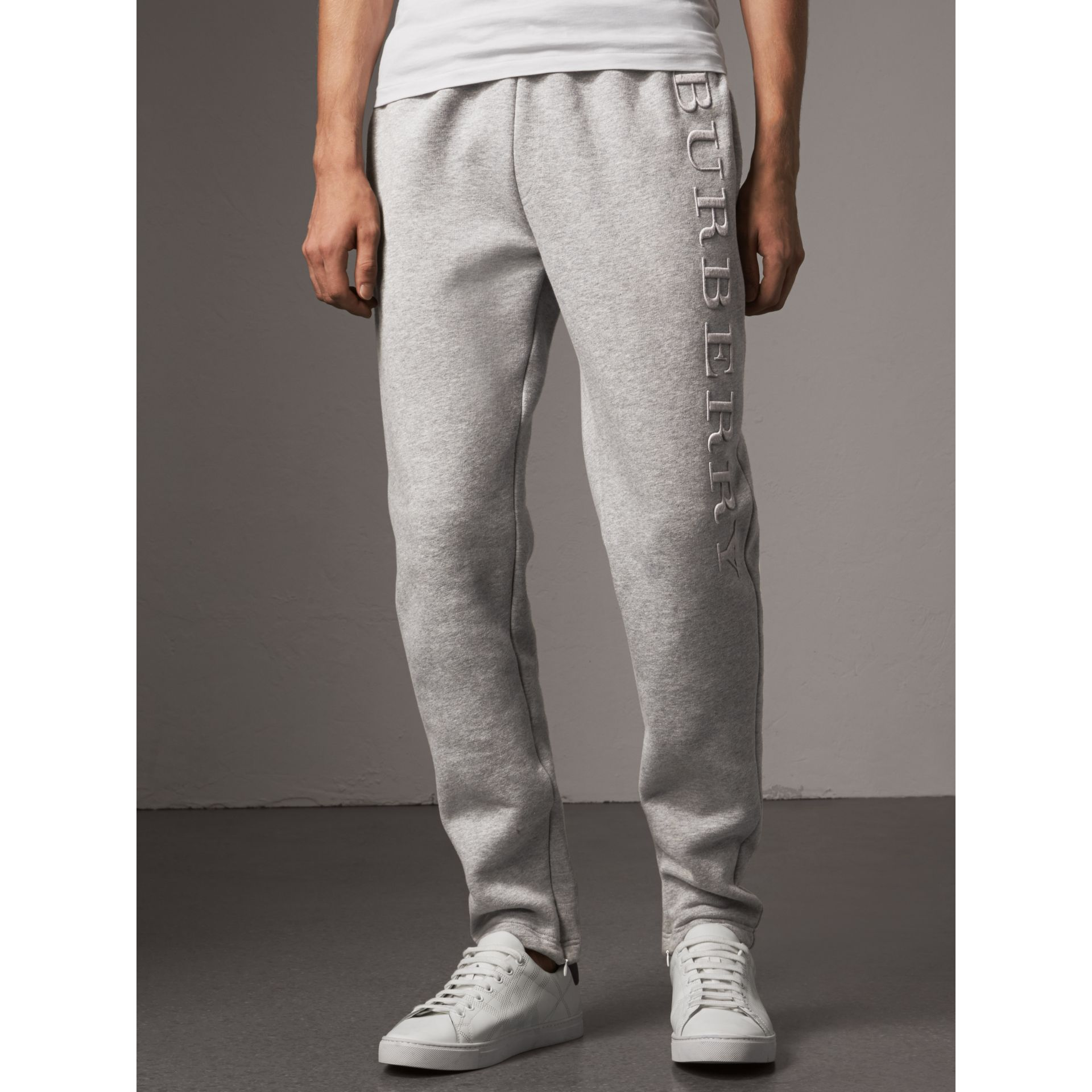 Embroidered Jersey Sweatpants in Pale Grey Melange - Men | Burberry Singapore - gallery image 4