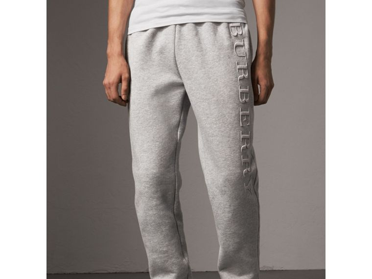 Embroidered Jersey Sweatpants in Pale Grey Melange - Men | Burberry United Kingdom - cell image 4