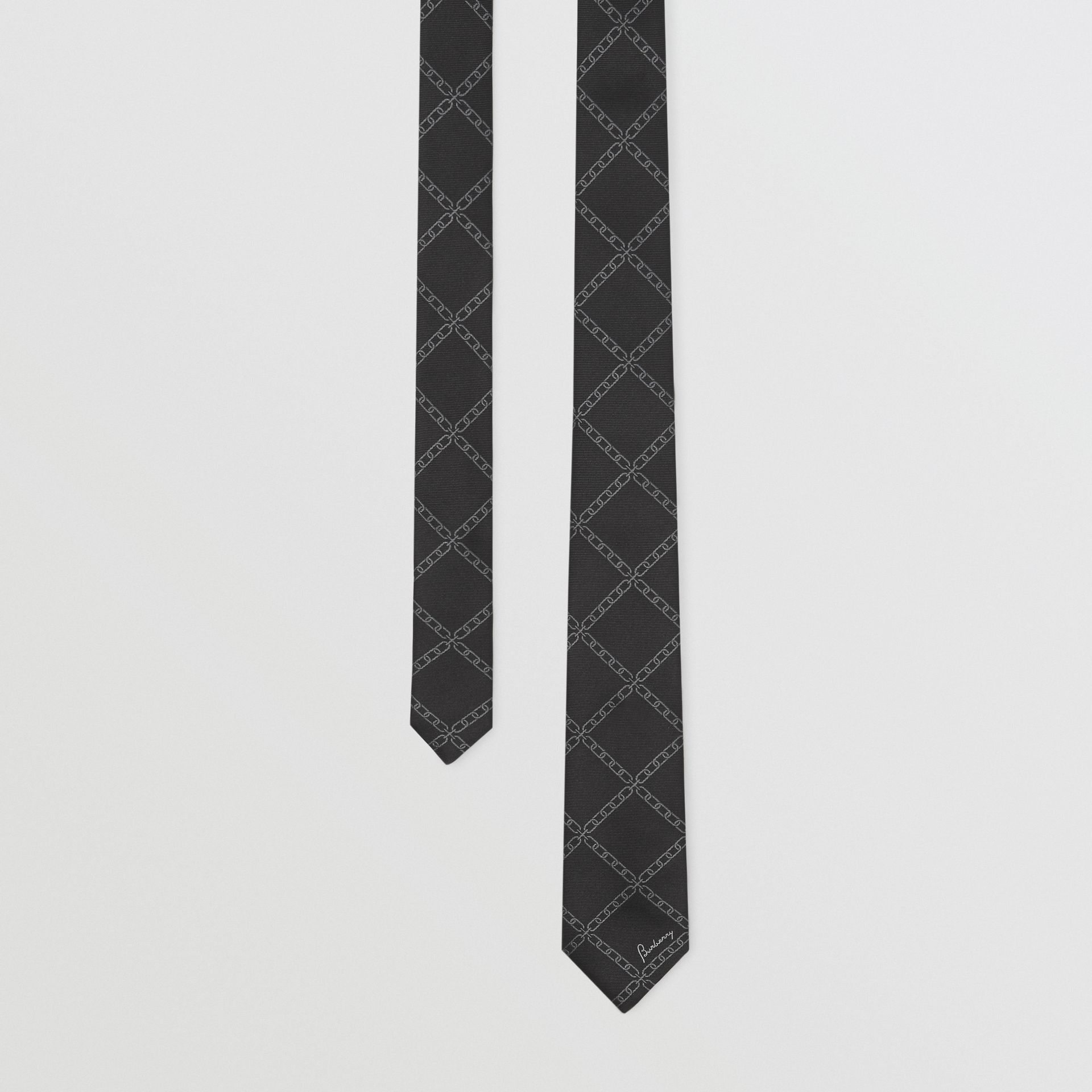 Slim Cut Link Print Silk Tie in Black - Men | Burberry United States - gallery image 0