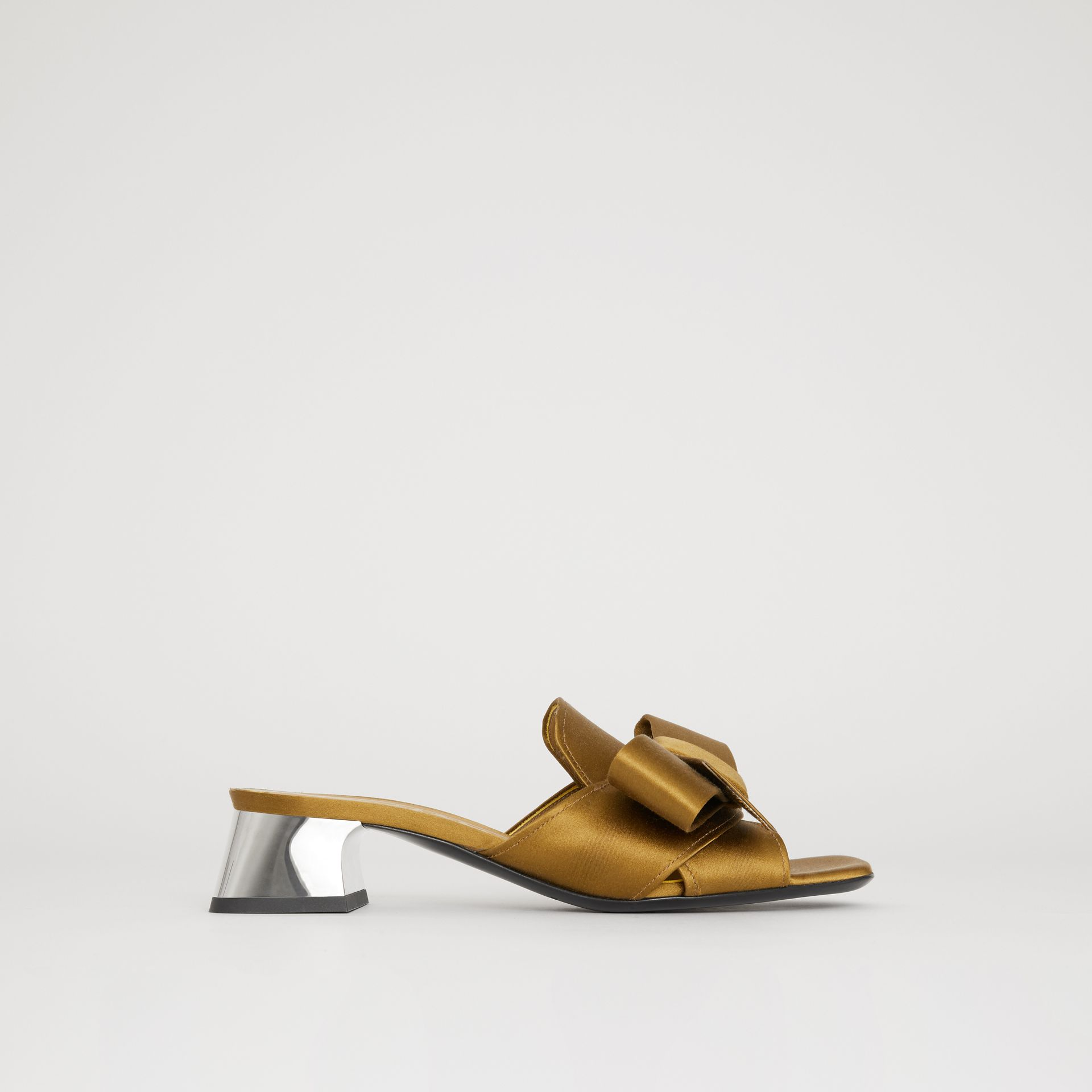 Bow Detail Satin Block-heel Mules in Antique Gold - Women | Burberry - gallery image 0