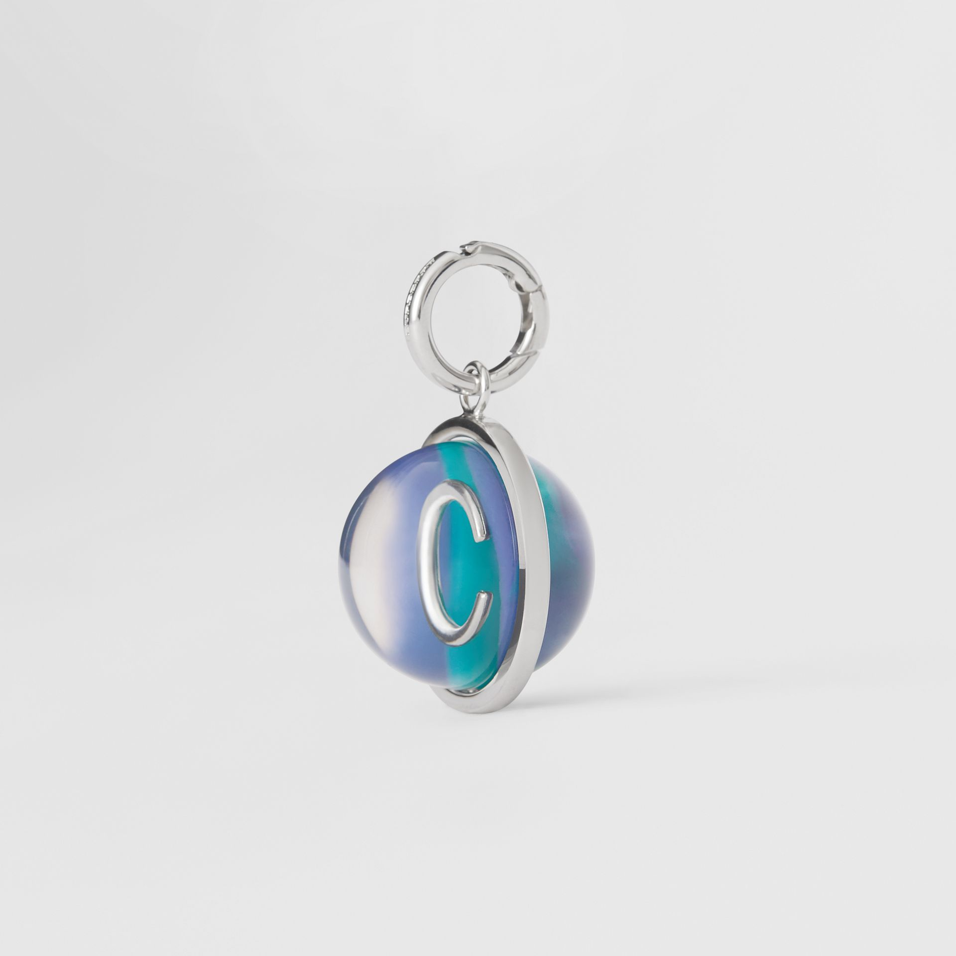 Marbled Resin 'C' Alphabet Charm in Palladio/ocean Blue - Women | Burberry - gallery image 4
