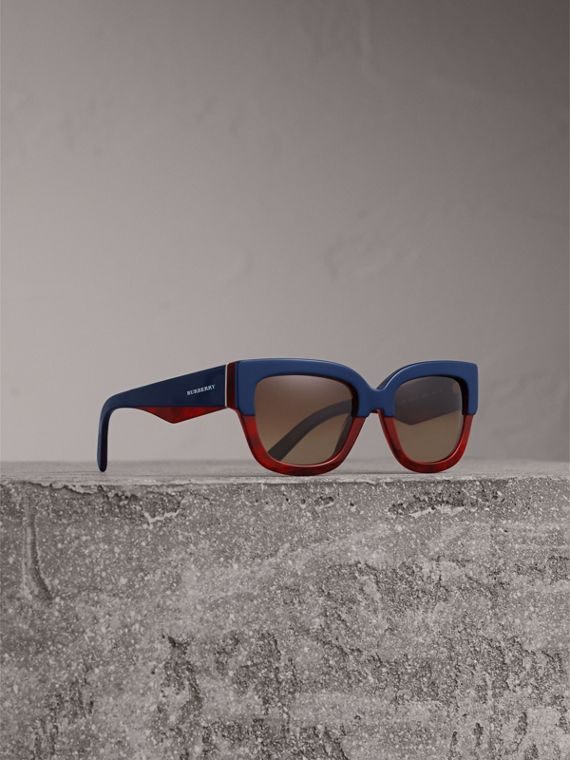 Square Frame Sunglasses in Navy - Women | Burberry