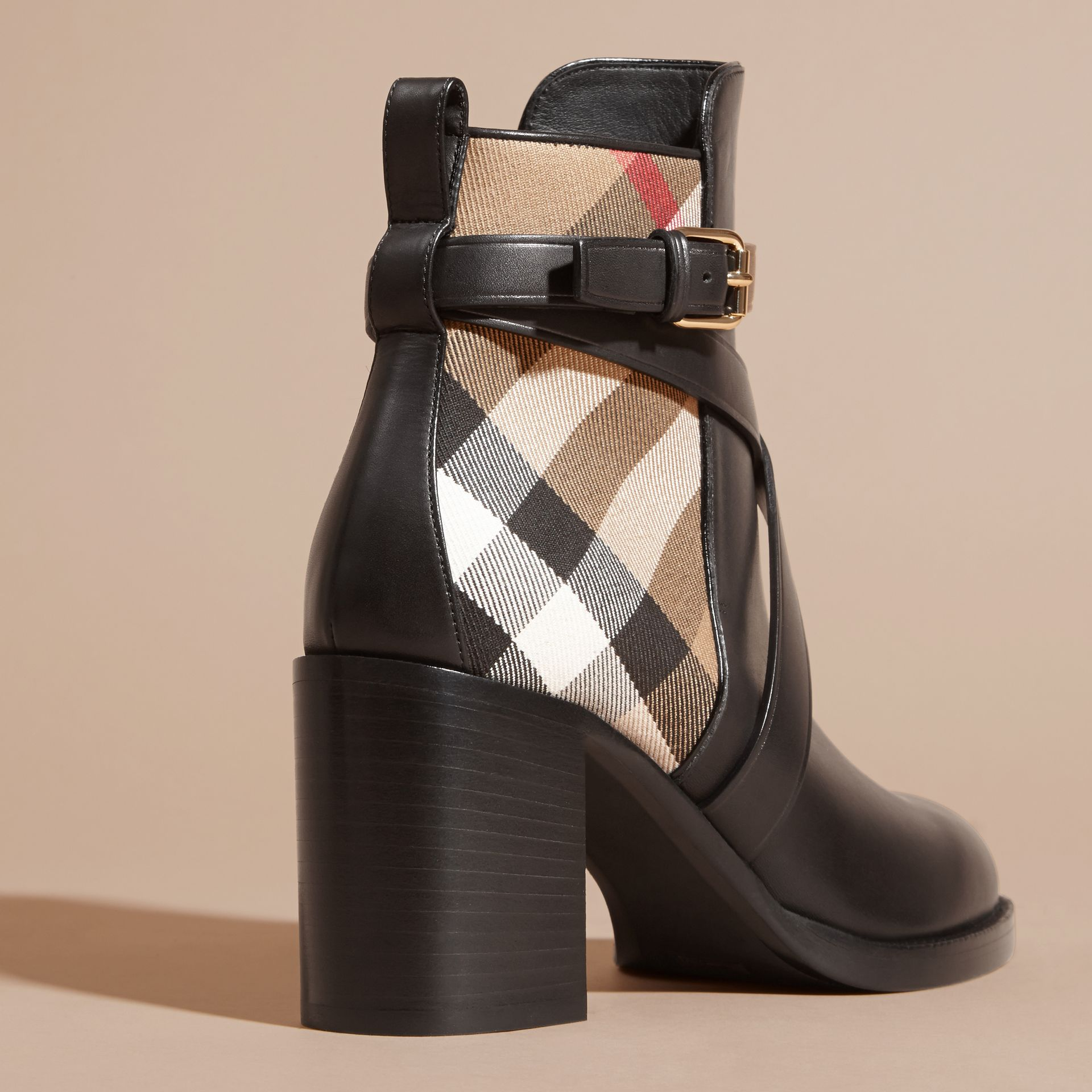 House Check and Leather Ankle Boots in Black - Women | Burberry Canada - gallery image 3
