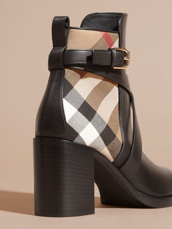 House Check and Leather Ankle Boots in Black - Women | Burberry Hong Kong - cell image 3