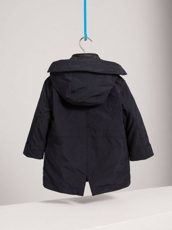 Parka with Detachable Down-filled Hooded Warmer in Navy - Boy | Burberry - cell image 3
