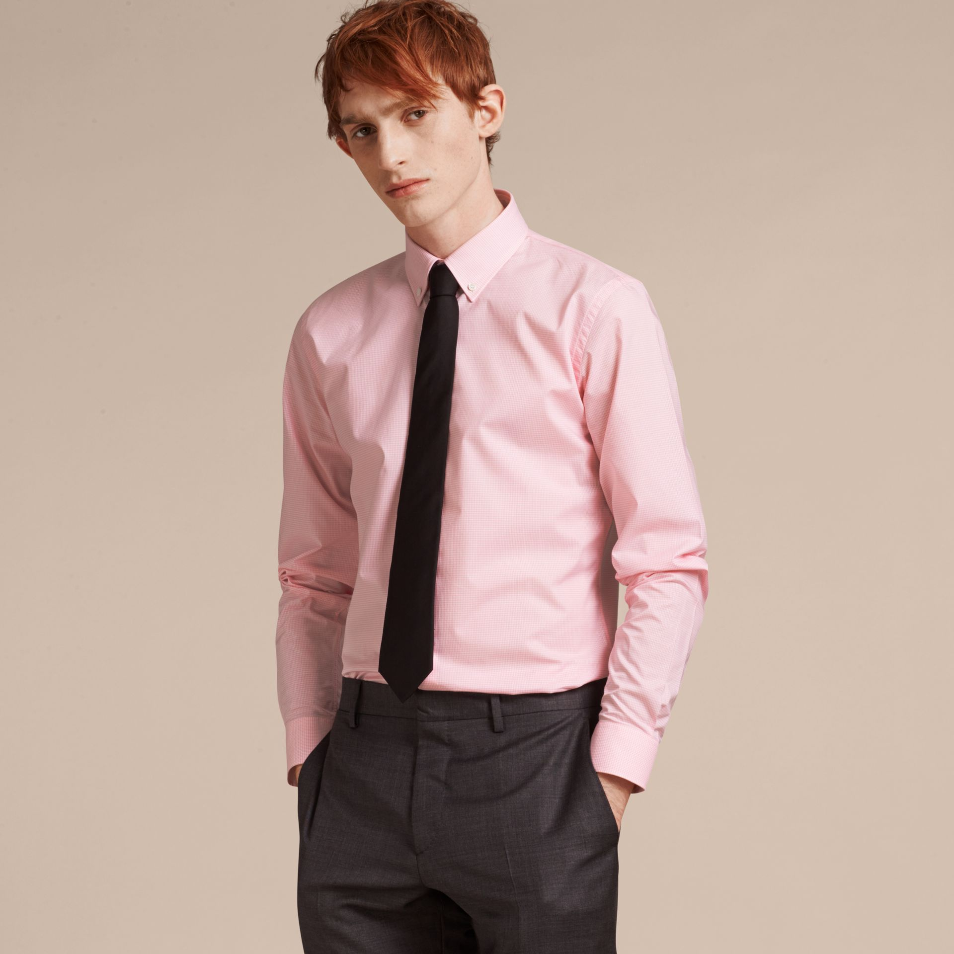 Slim Fit Button-down Collar Gingham Cotton Poplin Shirt in City Pink - gallery image 6