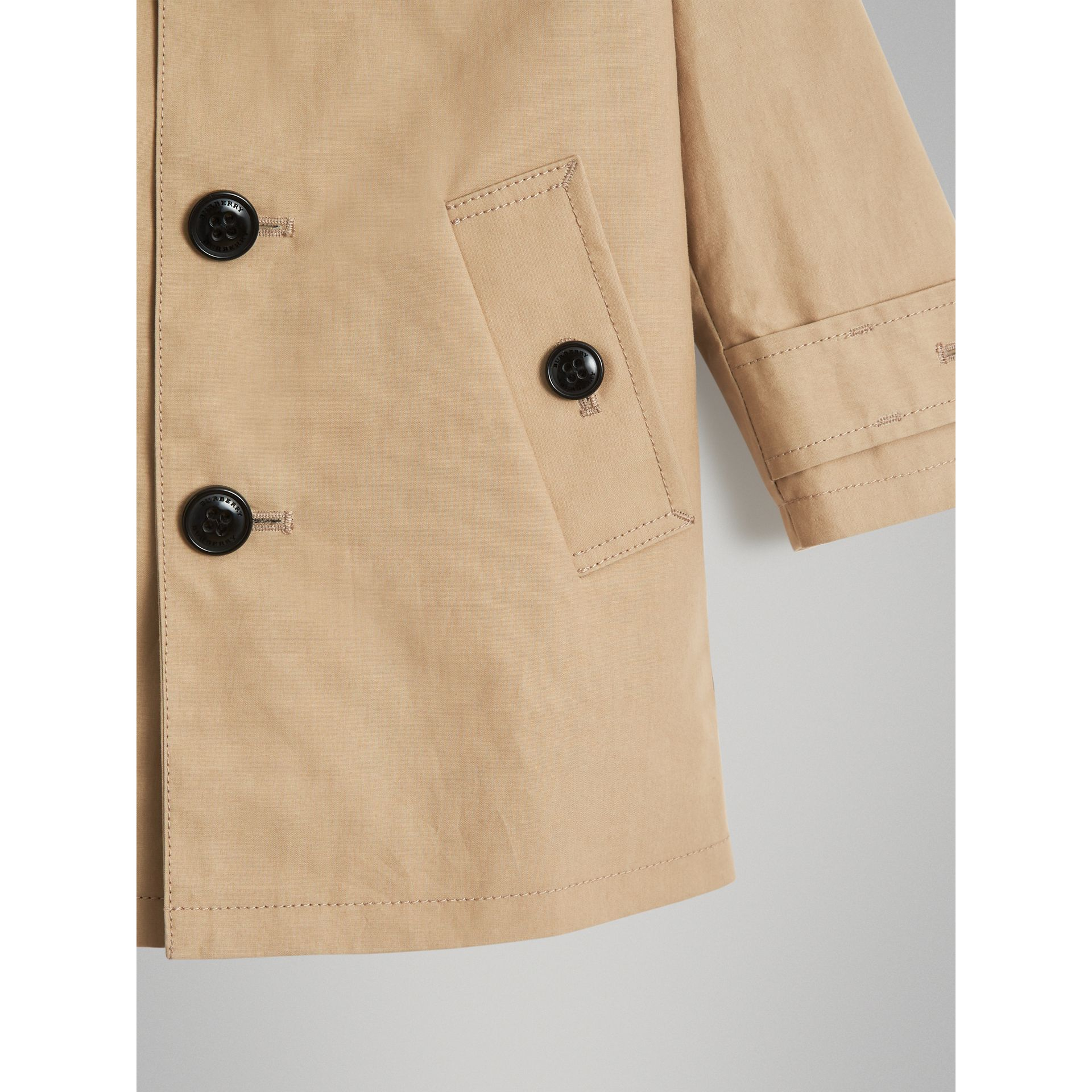 Detachable Hood Mercerised Cotton Trench Coat in Honey - Children | Burberry United States - gallery image 4