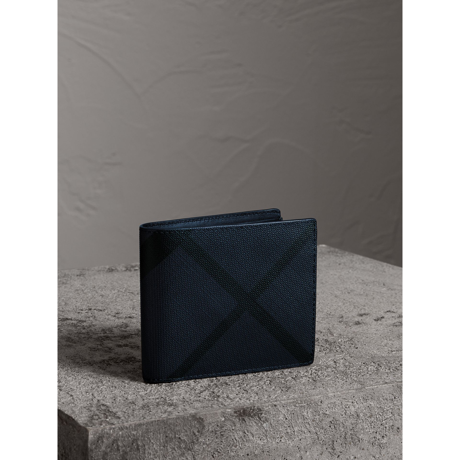 London Check International Bifold Wallet in Navy/black - Men | Burberry Australia - gallery image 0