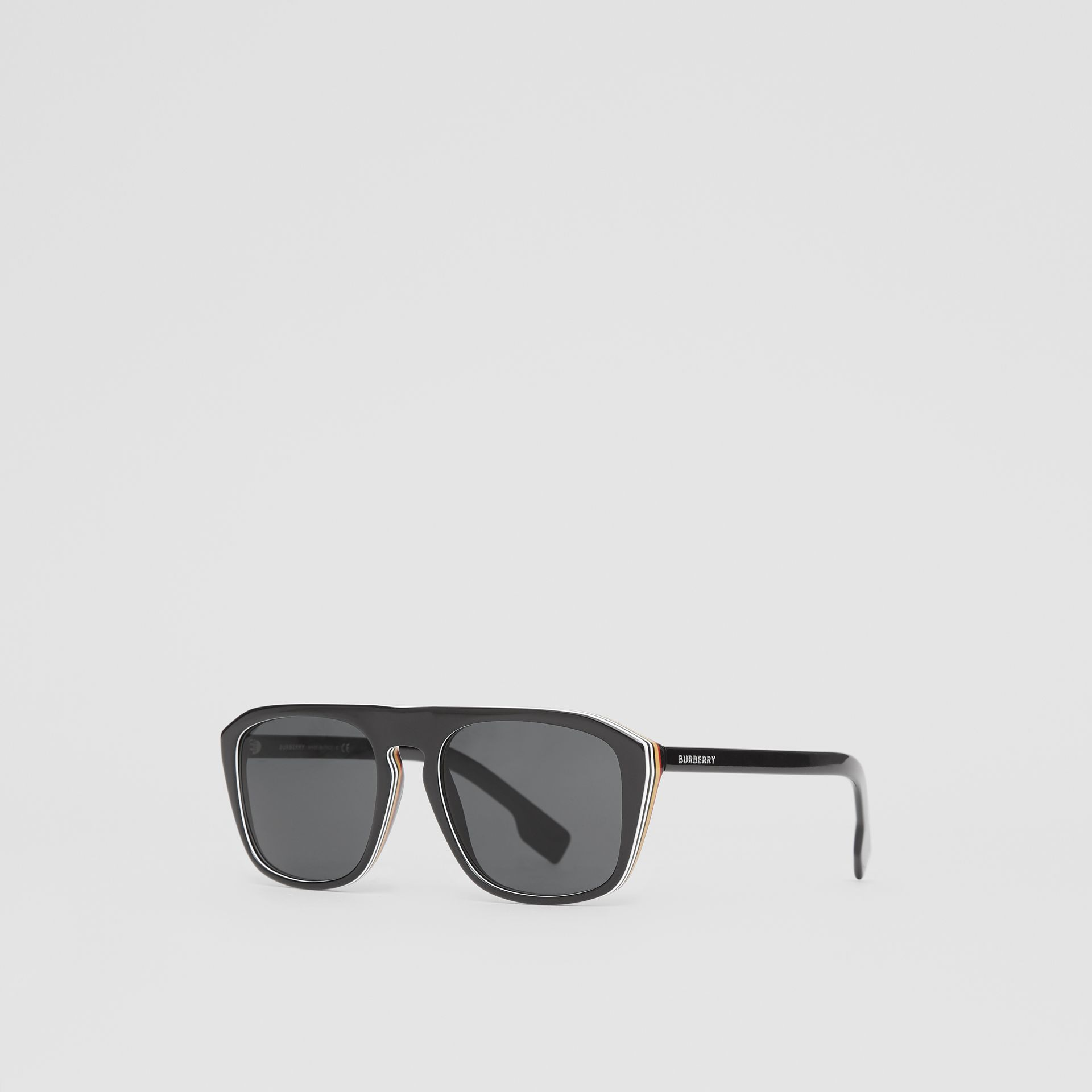 Icon Stripe Detail Square Frame Sunglasses in Black - Men | Burberry - gallery image 4