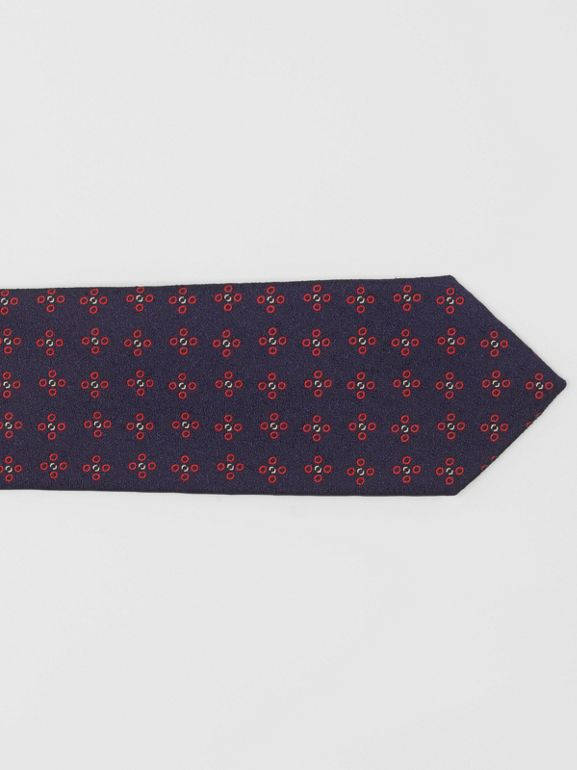 Modern Cut Graphic Floral Silk Jacquard Tie in Military Red - Men | Burberry - cell image 1
